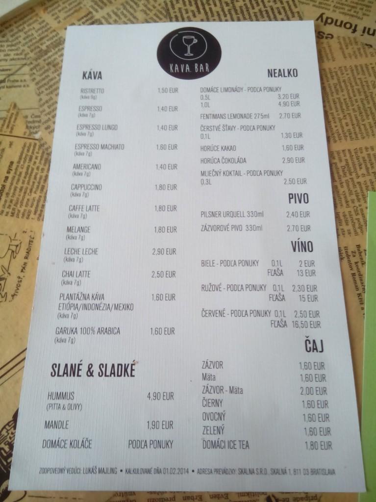Carta de precios Kava Bar